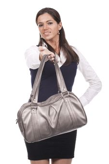 Free Woman Holding Purse Royalty Free Stock Image - 18658386