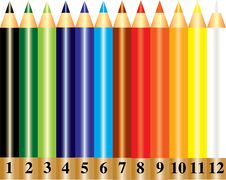 A Set Of Rainbow Color Pencils With Numbers