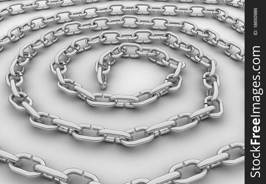 Spiral link in the chain, the chain of steel №3
