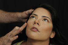 Free Hands Applying Make Up On Hispanic Girl Stock Photo - 18660320