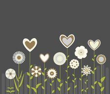 Free Cute Flowers And Hearts Royalty Free Stock Photos - 18660488