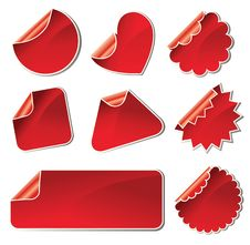 Free Set Of Red Stickers Royalty Free Stock Photography - 18660647