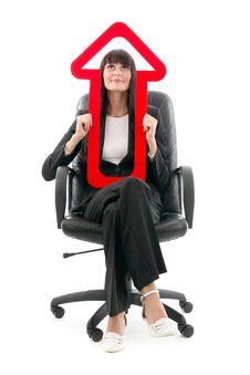 Free Businesswoman With Red Arrow Royalty Free Stock Photo - 18661445