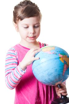 Free Girl Holding Globe Royalty Free Stock Photography - 18661757