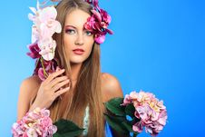 Free Woman With Flowers Royalty Free Stock Photo - 18661825