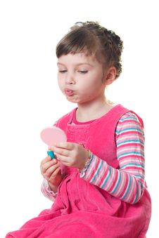 Little Girl With Lipstick Royalty Free Stock Images