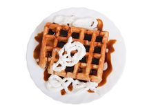 Free Waffle With Caramel And Cream Stock Photography - 18663472
