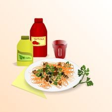 Spaghetti, Ketchup And Mustard, Cdr Vector Stock Photos