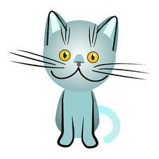 Free Vector Blue British Cat With Orange Eyes Stock Image - 18664541