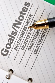Goals Page And A Fountain Pen Royalty Free Stock Photo
