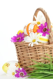 Free Colorful Easter Eggs With Spring Flowers Stock Photos - 18665523