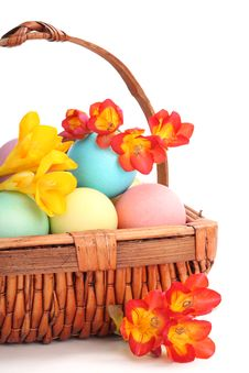Free Colorful Easter Eggs With Spring Flowers Stock Images - 18665604
