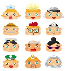 Cartoon People Face Icon Stock Images