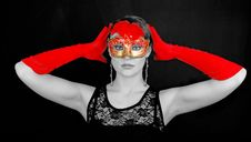 Free Portrait Of Beautiful Young Woman Wearing Red Mask Royalty Free Stock Image - 18666466