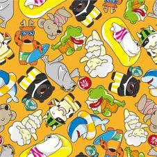 Free Seamless Summer Animal Pattern Stock Image - 18666731
