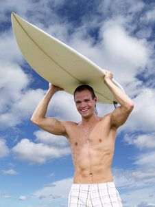 Muscular Surfer Dude Royalty Free Stock Images