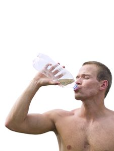 Muscular Man Drinking Stock Photos