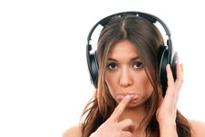 Young Woman Enjoying Music In Headphones Stock Image