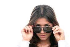 Free Fashion Woman Wearing Off Sunglasses Royalty Free Stock Images - 18669569