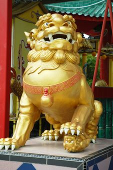Free Chinese Gold Lion Royalty Free Stock Photos - 18671508