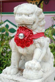 Free White Stone Lion Royalty Free Stock Photos - 18672338