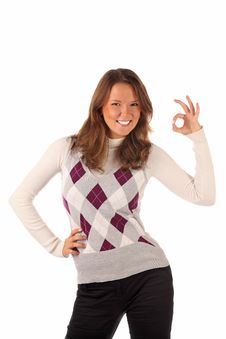 Standing Female Indicating OK Sign