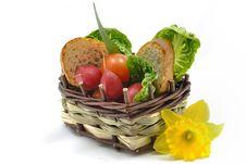 Basket Of Fresh Vegetables Stock Image