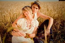 Free Image Of Young Man And Woman On Wheat Field Royalty Free Stock Photos - 18673438
