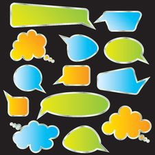 Free Set Of Speech And Thought Blobs Stock Photography - 18674952
