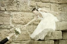Free Bride Reaching For Her Bouquet Stock Image - 18675771