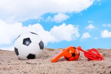 Free Beach Soccer Against A Blue Sky Stock Photo - 18676150