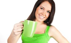 Free Pretty Girl With A Green Cup Royalty Free Stock Photos - 18676748