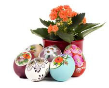 Easter Eggs And Flower Royalty Free Stock Photos