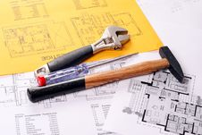 Free Tools On Blueprints House Project Stock Photos - 18678463