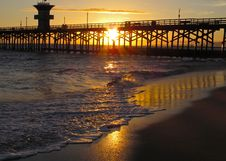 Free Sunset On The Seal Beach Pier Stock Photos - 18678643