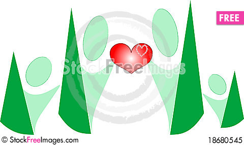Cartoon people family hold love heart in hands Stock Photo