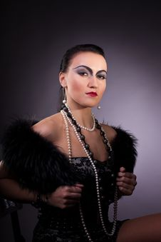 Woman In Fur Boa With Pearl Beads Retro Syle Stock Images