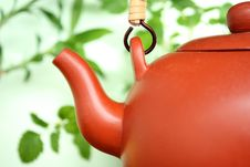 Ceramic Teapot With Leaves Royalty Free Stock Images