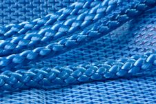 Blue Fabric And Rope Stock Photography