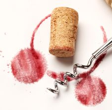 Wine Circles With A Corkscrew Royalty Free Stock Images