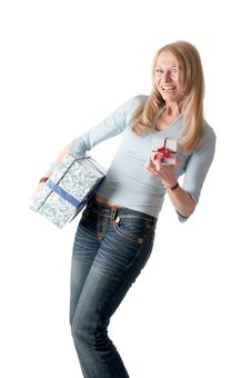 Free Middle Aged Woman With Two Parcels Royalty Free Stock Images - 18681179