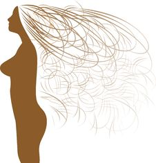 Free Abstract Woman Silhouette And Beautiful Hair Royalty Free Stock Image - 18681196