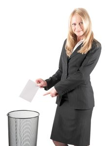 Free Woman Is Littering A Letter In Wastebasket Stock Image - 18681221
