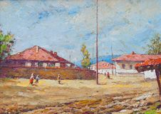 Free Oil Painting Showing Details From The Village Life Stock Photo - 18682890