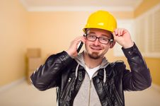 Free Contractor In Hard Hat On Cell Phone In House Royalty Free Stock Photography - 18682947