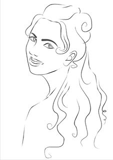 Free Sketch Of The Smiling Girl Stock Image - 18683521