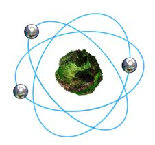 Free 3D Green Atomic Structure With Blue Orbitals Stock Photos - 18684293