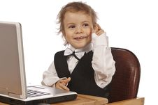 Free Little Child And Laptop. Royalty Free Stock Image - 18684646