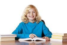 Free Happy Smiling School Girl Reading Books Stock Photo - 18684820