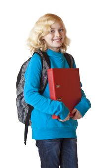 Free Schoolgirl With Rucksack And Folder Smiles Happy Stock Photos - 18684823